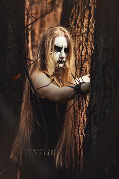 Forest People by Michael Krasnoslobodtsev on Black Metal, Black Art, Forest People, Rock Poster, Rocker Chick, Extreme Metal, Dark Look, Male Makeup, Metal Girl