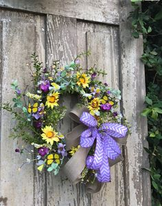 Wreath for double doors, yellow and purple wreath, Yellow Butterfly wreath, wild flower wreath, mothers day wreath, Easter Wreath,Summer Wreath, Back door Wreath, Spring Wreath, Front Door Wreath This sweet wild flower butterfly wreath is just ready for spring and summer. The fun colors of