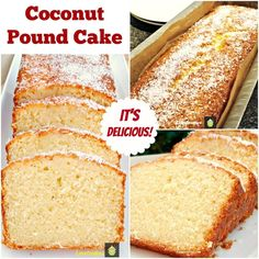 Moist Coconut Pound Loaf Cake. Light, soft, and oh so delicious! Really easy recipe with great results every time