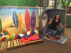 Ride the waves at First UMC in DeRidder, LA! Thanks to Shannon Cooper Lewis for… Dance Decorations, Dance Themes, Beach Theme Centerpieces, Kauai, Toddler Sunday School, Tropical Christmas, Luau Birthday, Vacation Bible School, Tropical Party
