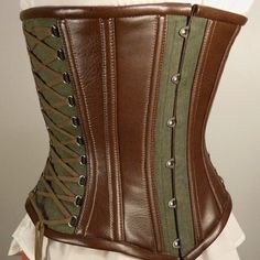 Custom Fantasy steampunk underbust corset, LARP, hemp and synthetic leather