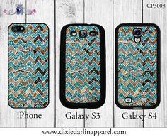Teal Glitter Chevron Camo Country Cell Phone by DixieDarlinApparel