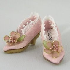 Miniature Pink High Heels with Lace Trim and Flower Jewels