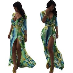NEW AUTUMN WOMEN'S FASHION WITH OPEN SIDE V NECK FLORAL PRINTING GOUGE DAILY HALTER CLUBWEAR CUT OUT OUTFIT MAXI COCKTAIL PARTY CLUB LONG DRESS