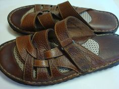 BORN SANDALS shoes Oberon W6082 slip on brown leather fisherman open toe 10 42 #Born #Sandals