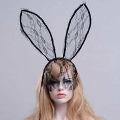 2018 New Fashion Women Girl Hairbands Lace Rabbit Bunny Ears Veil Black Eye  Mask Party Head Wear Girl Party Masks Lace Hiarband. Price Archive ·  Accessories bbe3451099fb