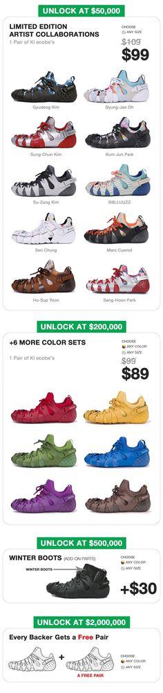 Ultra customizable ultra colorful shoes that eliminate sweatshop labor with genius modular design.