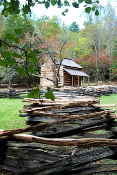Cades Cove, Tennessee - a section of the Great Smoky Mountains National Park, USA - The Oliver's Cabin was the first in the Smokies.