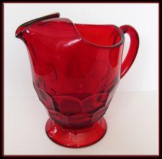 Vintage Depression Glass - Large Ruby Viking Georgian Honeycomb Pitcher