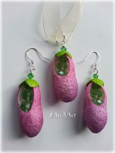 VIOLET ORCHID PODS jewelry set - earrings & pendant - silk cocoons - green crystal beads - natural, on-of-a-kind, beans, violet flower pods by LanAArt on Etsy