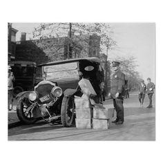 07f3e865 Police Capture Bootleggers Car, 1922 Vintage Photo Poster Post Bus, Vintage  Photos, Vintage