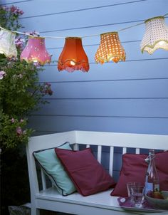 patio lanterns out of small vintage lampshades --- I'm already dreaming about backyard parties and barbecues