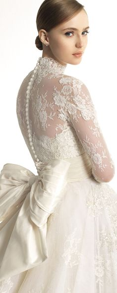 2013 wedding dress Zuhair Murad for Rosa Clara bridal gowns 305 detail Dresses, Styles, and Fashion, Clara, Murad Lace Wedding Dress With Sleeves, Fall Wedding Dresses, Long Sleeve Wedding, Wedding Gowns, Dresses With Sleeves, Lace Sleeves, Bow Wedding, Wedding Blog, Lace Dress