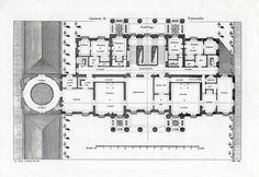 The first (principal bedroom) floor plan of the neoclassical Chateau de Benouville designed by Claude Nicolas Ledoux.