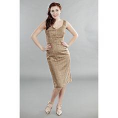 Intramontabile abito a tubino in perfetto stile anni '60, con scollo a cuore e corpetto aderente.