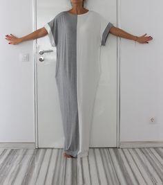 Grey and White Caftan Dress Maxi Dress Oversized dress White Maxi Dresses, Sexy Dresses, Summer Dresses, Long Dresses, Suspender Dress, Loose Shorts, Oversized Dress, Caftan Dress, Gray Skirt