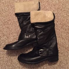 Black leather, faux fur lined boots. Calf height brand new, never worn. Shoes Winter & Rain Boots