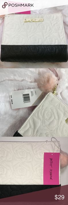 """$48 NWT Betsey Johnson Clutch/Cosmetic Bag/Purse This is a guaranteed authentic, brand new Betsey Johnson cream & black cosmetic bag/clutch, with a retail price tag of $48. Comes with a cute pink pom-pom key fob, gold-toned hardware, and pink purse strap. It's got two phone-sized pockets on one side of the interior and another zip pocket on the opposite side. The pink & gold plate on the front exterior is still covered.  Measurements: Length: 10.25"""" Depth: 2.75"""" Height: 8"""" Betsey Johnson…"""