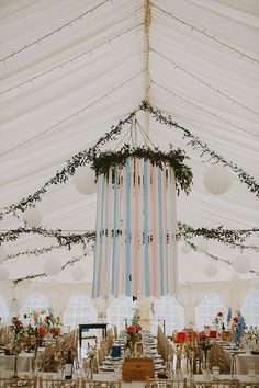 Marquee Pastel Ribbon Chandelier Decor Hanging Lanterns Beautiful Bohemian Beach Glamping Wedding http://www.thecurries.co/