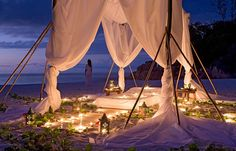 Constance Lémuria Resort, in (Seychelles/Praslin Island) _ Luxuriate on the beach in the Pavilion, and receive a professional massage! Beach Romance, Romantic Beach, Romantic Evening, Romantic Places, Romantic Getaways, Beautiful Places, Romantic Ideas, Hopeless Romantic, Romantic Table