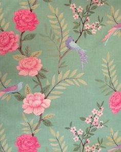 Chinoiserie - Peapod - Flowers and birds printed in shades of pink, purple and blue on minty green linen fabric with olive green leaves from Sarah Hardaker Chinoiserie Fabric, Chinoiserie Wallpaper, Floral Fabric, Linen Fabric, Wallpaper Uk, Pink Curtains, Mural Art, Wall Murals, Colour Schemes