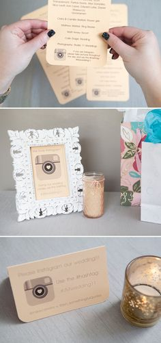 DIY - Four easy ways to ask your guests to #hashtag their Instagrams of your wedding! Free Downloads!