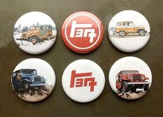 "A pack of 6 of magnets with vintage looking graphics of Land Cruisers alongside some TEQ ""Toyota"" logos. Each magnet measures 1.25 inches in diameter. They are water resistant but not water proof."