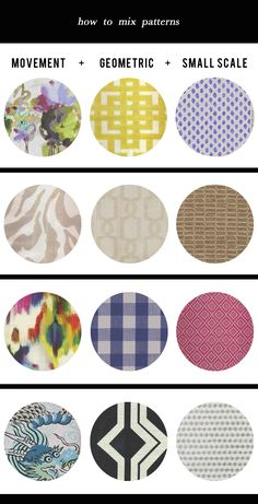 Great tutorial and cheat sheet from designer Kristin Jackson for how to mix and layer patterns.  Hunted Interior
