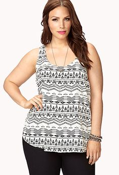 Tribal Print Cutout Tank from Forever21.com plus sizes