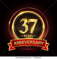 37th golden anniversary logo with ring and red ribbon. Vector design template elements for your birthday celebration.