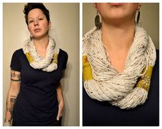 No Sew (or Knit!) Yarn Infinity Scarf Tutorial - an unusual scarf method.