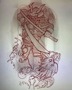 Start of a massive back for my bro , as where not camping in a field listening to music where cheering our selves up with this 2 day… Samurai Tattoo Sleeve, Dragon Sleeve Tattoos, Leg Tattoos, Tattoos For Guys, Japanese Tattoo Designs, Japanese Tattoo Art, Japanese Sleeve Tattoos, Tattoo Sketches, Tattoo Drawings