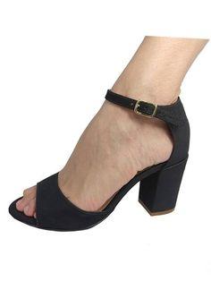 d505cc97dd NR Fashion Shoes · Sandálias Verão 2019 · Sandália Fechada Preta Salto Médio