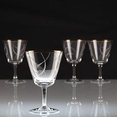 4 Vintage Weingläser Weißwein Goldrand Dekor Linien geschwungen weiß ~ 50er K2