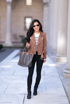 skinny jeans with ankle boots and suede jacket