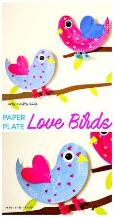 Arty Crafty Kids   Craft   Paper Plate Love Birds   Super cute paper plate Love Bird. An easy Valentine's craft for kids.