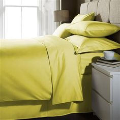 This season's HOT colour. Hotel Living 1000 Thread Count King Extra Deep Fitted Sheet, Chartreuse
