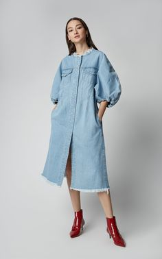 Marques Almeida Blouson-Sleeve Denim Dress Reverse the gravity by turning the jeans into upside down shorts. Summer Coats, Denim Outfit, Facon, Denim Fashion, Elegant Dresses, Street Style Women, Coats For Women, Fashion Design, Outfits