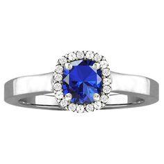 10k White Gold Cushion-cut Designer Gemstone Birthstone Ring (Size 7.5 Dec Swiss Blue Topaz), Women's