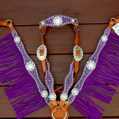 Antique Purple/Tan Leather Fringe Browband Tack Set w/AB-Purple Crystal Rhinestone Conchos $285