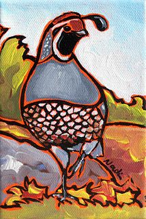 Nadi Spencer paints often and colorfully. She is the founder of the Three Rivers First Saturday art event. Read her blog to see how she is creatively hiding herself to take close up photos of our beloved California quail. © Nadi Spencer