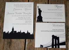 modern wedding invitation skyline wedding invitation nyc chicago modern any city