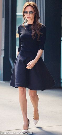 Ton sur ton and contrasting textures make an interesting outfit for casual Friday Victoria Beckham