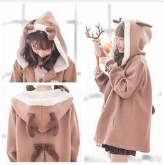 "use code: ""puririnhime"" to get 10% OFF everytime you shop at www.sanrense.com  Kawaii cartoon woolen hoodie jacket SE9024"
