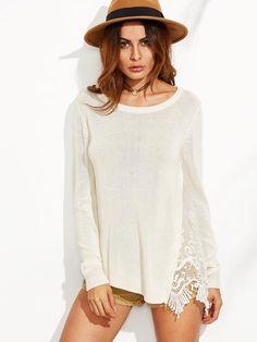 White Lace Insert Asymmetric Sweater