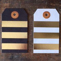 Foil leather stripes gift tags   Ferme à Papier