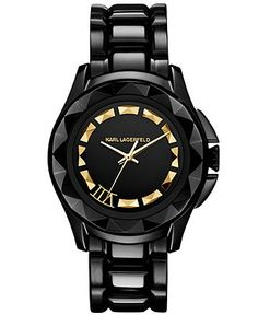Karl Lagerfeld Watch, Women's Black Ion-Plated Stainless Steel Bracelet 36mm KL1006 - Women's Watches - Jewelry  Watches - Macy's