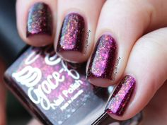 Grace-full Nail Polish - Eternal Sunset | Hella Holo Customs May 2016 | May 14-31, 2016 | purple jelly with copper, gold & fuchsia flakies & holo glitter. Eternal Sunset is a purple jelly with multichrome flakies in copper, gold and fuchsia and pops of holo micro glitter in bright pink and copper. This color was inspired by a horizon photo submitted by Tracy Pask