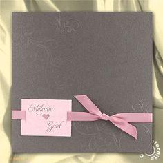 Faire-part de Mariage pochette gris taupe et ruban rose - ML16-050
