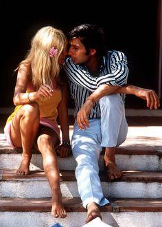 Brigitte Bardot on honeymoon in Tahiti with her 3rd husband Gunter Sachs, 1966.